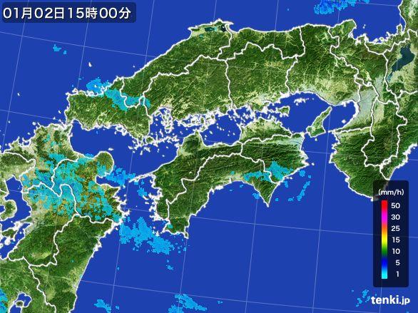 四国地方の雨雲の動き(2016年01月02日)