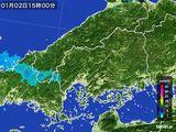2016年01月02日の広島県の雨雲の動き