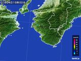 2016年01月04日の和歌山県の雨雲の動き