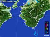 2016年01月13日の和歌山県の雨雲の動き