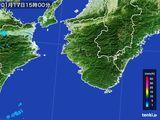 2016年01月17日の和歌山県の雨雲の動き