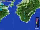 2016年01月18日の和歌山県の雨雲の動き