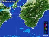 2016年01月24日の和歌山県の雨雲の動き