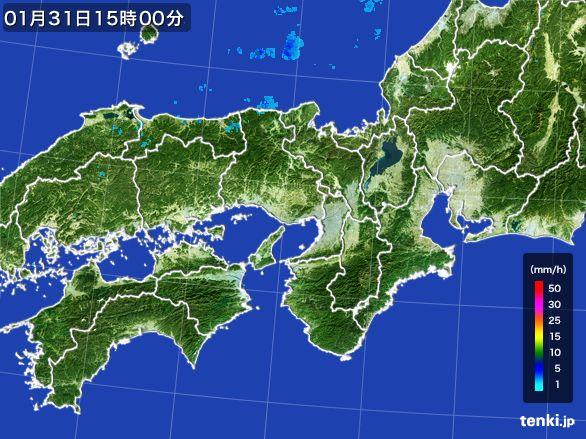 近畿地方の雨雲レーダー(2016年01月31日)
