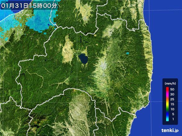 福島県の雨雲レーダー(2016年01月31日)