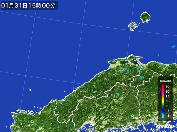 島根県の雨雲レーダー(2016年01月31日)