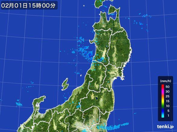 東北地方の雨雲レーダー(2016年02月01日)