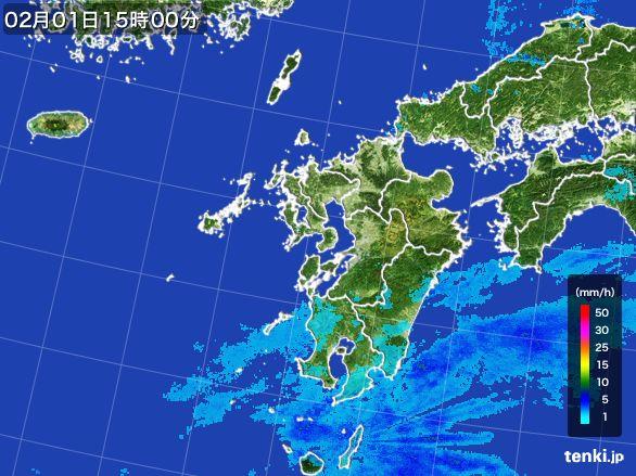 九州地方の雨雲レーダー(2016年02月01日)