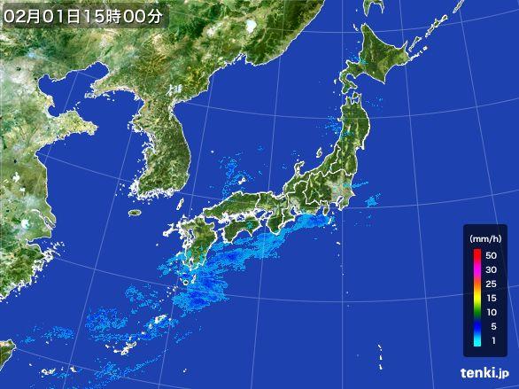 雨雲レーダー(2016年02月01日)