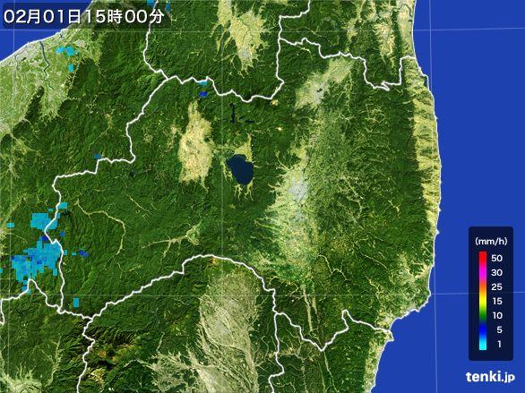 福島県の雨雲レーダー(2016年02月01日)