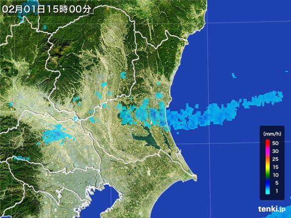 茨城県の雨雲レーダー(2016年02月01日)