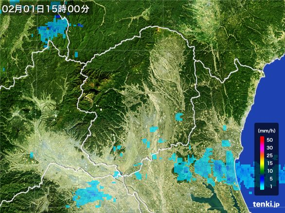 栃木県の雨雲レーダー(2016年02月01日)