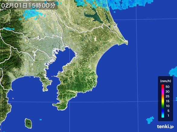 千葉県の雨雲レーダー(2016年02月01日)