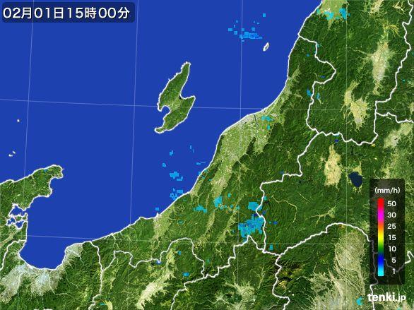 新潟県の雨雲レーダー(2016年02月01日)