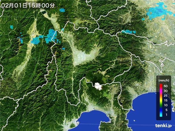 山梨県の雨雲レーダー(2016年02月01日)