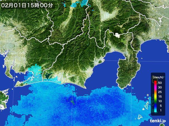 静岡県の雨雲レーダー(2016年02月01日)
