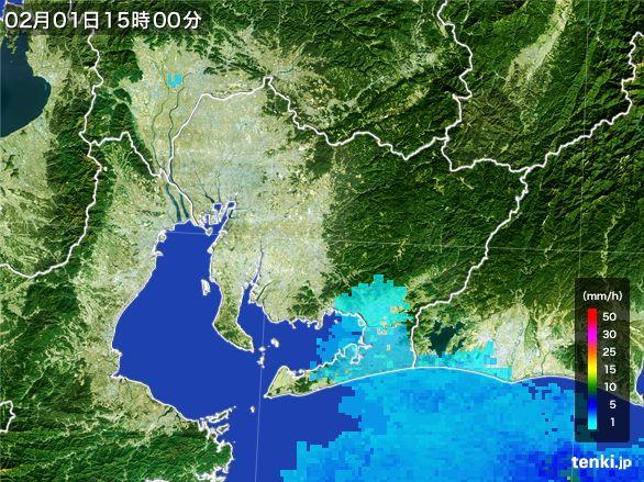 愛知県の雨雲レーダー(2016年02月01日)