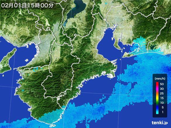 三重県の雨雲レーダー(2016年02月01日)