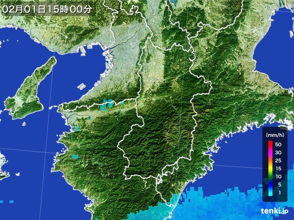 奈良県の雨雲レーダー(2016年02月01日)