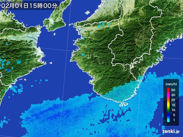 和歌山県の雨雲レーダー(2016年02月01日)