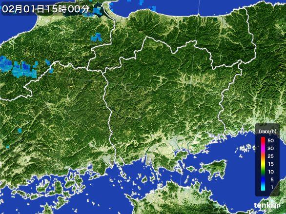 岡山県の雨雲レーダー(2016年02月01日)