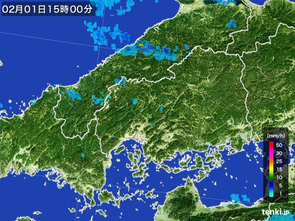 広島県の雨雲レーダー(2016年02月01日)