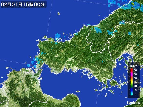 山口県の雨雲レーダー(2016年02月01日)