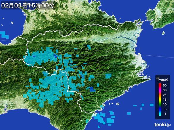 徳島県の雨雲レーダー(2016年02月01日)