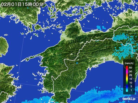 愛媛県の雨雲レーダー(2016年02月01日)