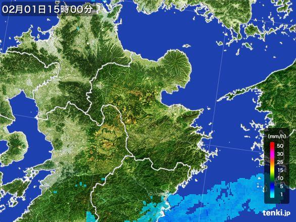 大分県の雨雲レーダー(2016年02月01日)