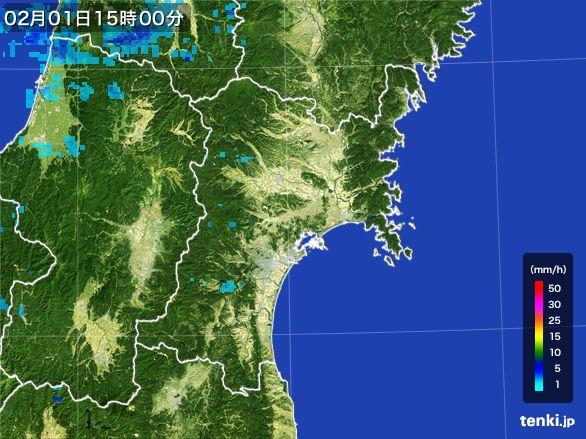 宮城県の雨雲レーダー(2016年02月01日)