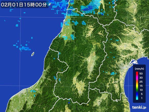 山形県の雨雲レーダー(2016年02月01日)