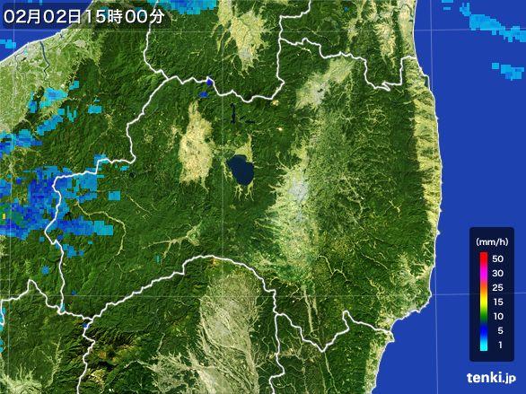 福島県の雨雲レーダー(2016年02月02日)