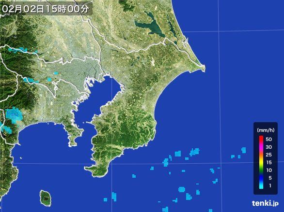 千葉県の雨雲レーダー(2016年02月02日)