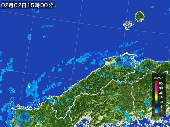 島根県の雨雲レーダー(2016年02月02日)