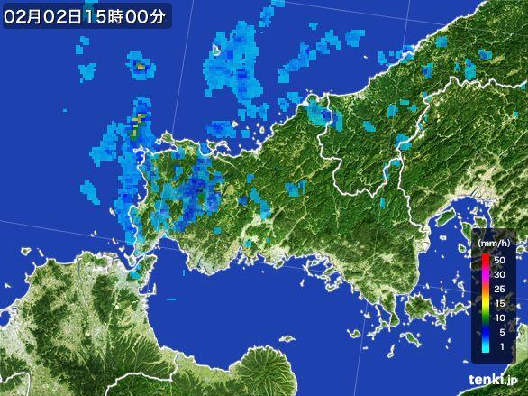 山口県の雨雲レーダー(2016年02月02日)