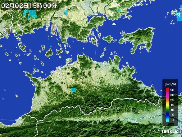香川県の雨雲レーダー(2016年02月02日)
