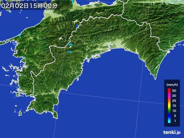 高知県の雨雲レーダー(2016年02月02日)