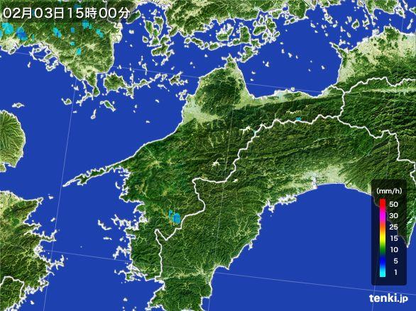 愛媛県の雨雲レーダー(2016年02月03日)
