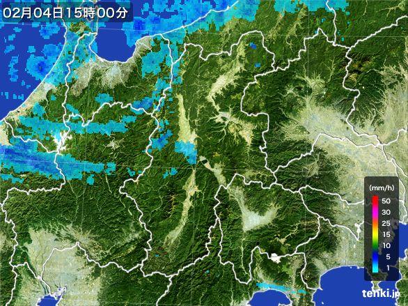長野県の雨雲レーダー(2016年02月04日)