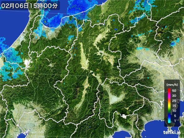 長野県の雨雲レーダー(2016年02月06日)