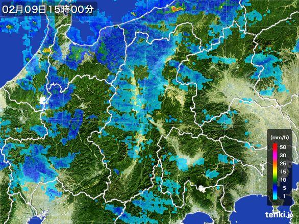 長野県の雨雲レーダー(2016年02月09日)