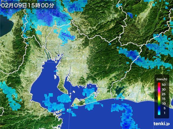 愛知県の雨雲レーダー(2016年02月09日)
