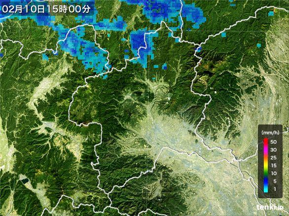群馬県の雨雲レーダー(2016年02月10日)
