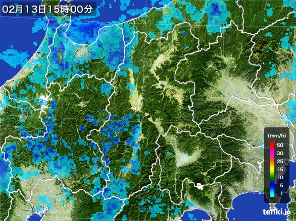 長野県の雨雲レーダー(2016年02月13日)