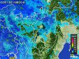 2016年02月13日の滋賀県の雨雲レーダー