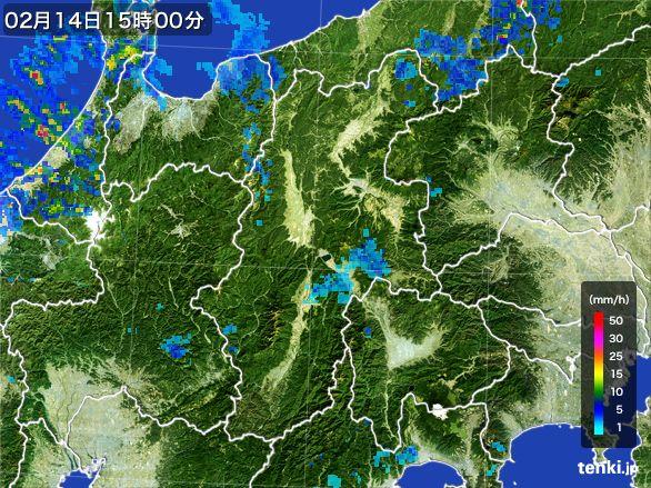 長野県の雨雲レーダー(2016年02月14日)