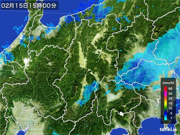 長野県の雨雲レーダー(2016年02月15日)