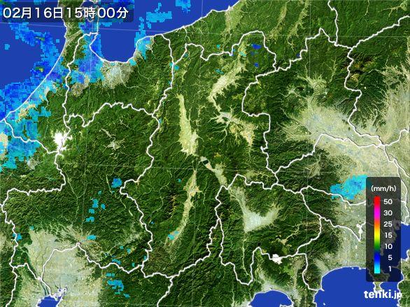 長野県の雨雲レーダー(2016年02月16日)