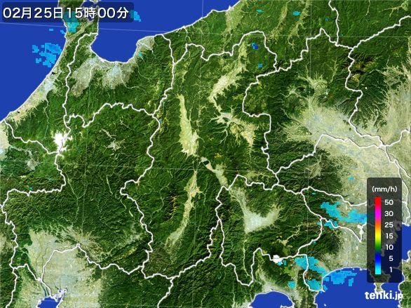 長野県の雨雲レーダー(2016年02月25日)